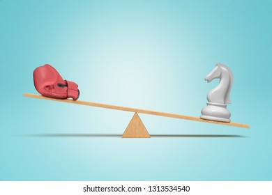 3d rendering of a seesaw with a chess knight outweighing a boxing glove. Power versus tactics. Unequal forces. Knowledge is power.