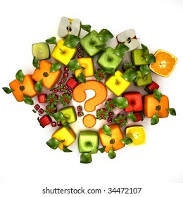 3D rendering of a selection of cubic fruits surrounding a question mark