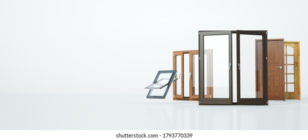 3D rendering of a selection of different types of doors and windows