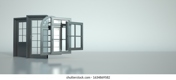 3D rendering of a selection of doors and windows