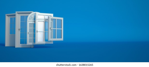 3D rendering of a selection of doors and windows on a blue background