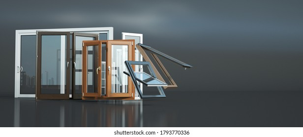 3D rendering of a selection of windows of different types and styles