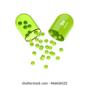 3d rendering of selenium capsule with granules isolated over white background