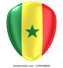 3d rendering of a Senegal flag icon on white background.
