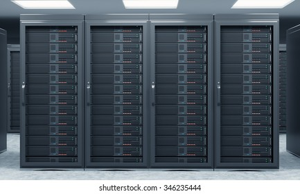 3D rendering of server for data storage, processing and analysis, rows of machines at work, front view, close