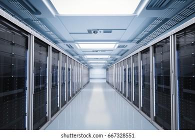 3d rendering server room or server computers