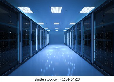 3d rendering server room or data center
