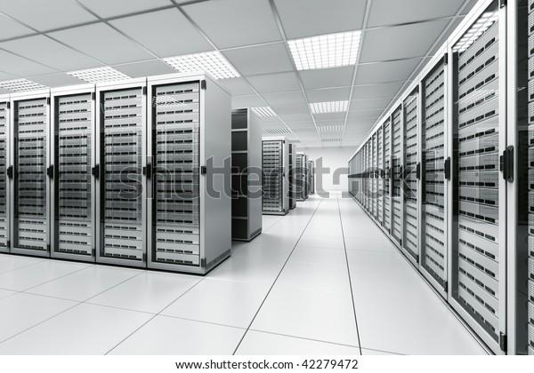 3D-Darstellung eines Serverraums mit weißen Servern