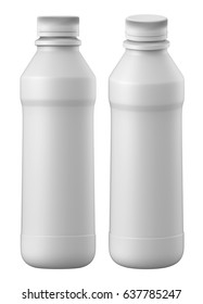 3D rendering Set of 1Liter gloss plastic bottle with Lid of yogurt milk, chocolate, coffee milk, on white background