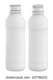 3D rendering Set of 1Liter plastic bottle with Lid of yogurt milk, chocolate, coffee milk, on white background