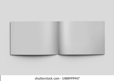3d rendering Set of blank magazine, album or book mockup on gray background