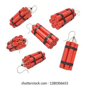 3d rendering of a set of bundles of dynamite sticks isolated on a white background. Risk and danger. Explosive works. Demolition works.