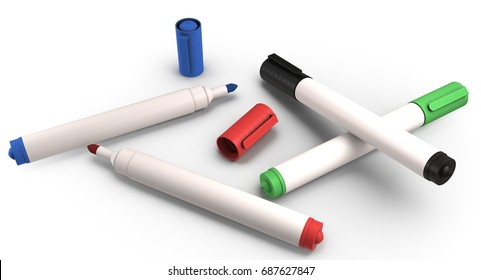 3D rendering - set of colorful whiteboard markers isolated on white background.