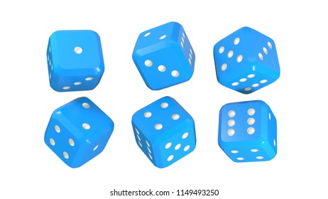3d rendering set of dices