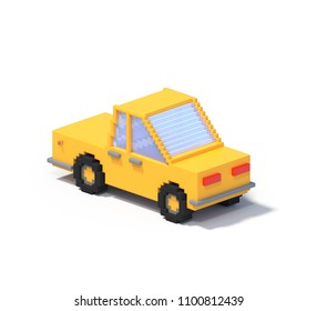 3d rendering set of flat isometric block car infographic concept. Custom city map builder. Isolated on white background with shadow. Auto icon collection. Pixel art. Yellow vehicle