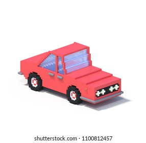 3d rendering set of flat isometric block car infographic concept. Custom city map builder. Isolated on white background with shadow. Auto icon collection. Pixel art. Red vehicle