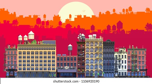 3d rendering set of flat isometric block buildings infographic concept. City street with background silhouette layers. Building facade front view. Pixel art. Typical New York buildings with fire stair