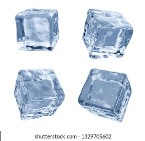 3D rendering. Set of four different angle ice cubes, isolated on white background.