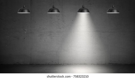 3d rendering of a set of four industrial lamps hanging on a concrete wall background with only one lamp lit up. Industrial light. Attention point. Spotlight and floodlight.