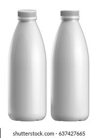 3D rendering Set of gloss plastic bottle of yogurt, Milk plastic bottle on white background
