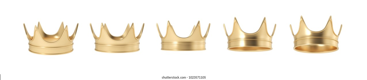 3d rendering of set of golden royal crown isolated on a white background. Monarchy symbol. Royal treasure. Winner and leader.