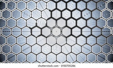 3D rendering of set of hexagonal shapes. Abstract background with varied perspectives.