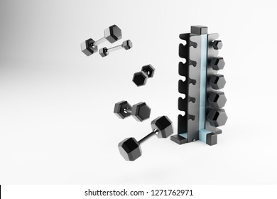 3D rendering. Set of isolated dumbbells for sport on a white background folded on a special black metal stand. Dumbbells of different weight category. Dumbbell with different weights