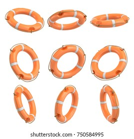 3d rendering of a set of orange life buoys hanging over a white background in different angles. Life ring buoy. Helping hand. Ask for assistance.