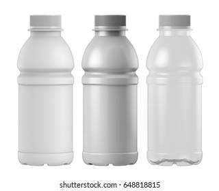 3D rendering Set of plastic bottle for juice, Mock up isolated