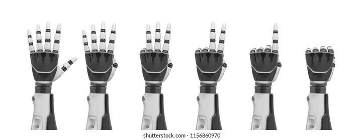 3d rendering of a set of robotic hands shown from the back from the fist to several fingers sticking out. Zero to five. Counting and calculating. Robotic rating.