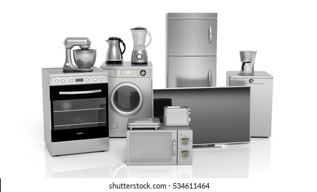 3d rendering set of silver household appliances on white background