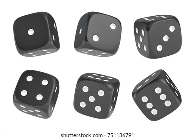 3d rendering of a set of six black dice with white dots hanging in half turn showing different numbers. Lucky dice. Board games. Money bets.