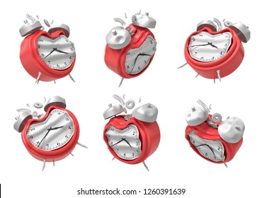 3d rendering of a set of six red broken alarm clocks isolated on white backround. Waste time. Broken internal clock. Punctuality problems.