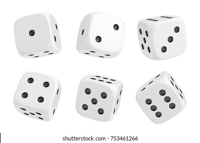 3d rendering of a set of six white dice with black dots hanging in half turn showing different numbers. Lucky dice. Board games. Money bets.