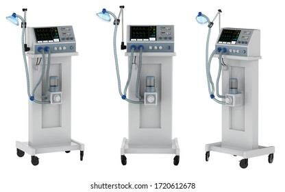 3d rendering set of ventilator machines isolated on white background