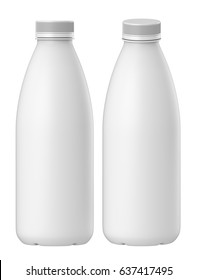 3D rendering Set of white plastic bottle for dairy products, juice or milk, Mock up