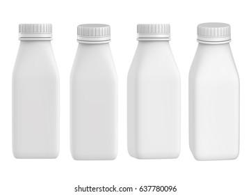 3D rendering Set of yogurt milk square plastic bottle with Lid, Mock up on white background