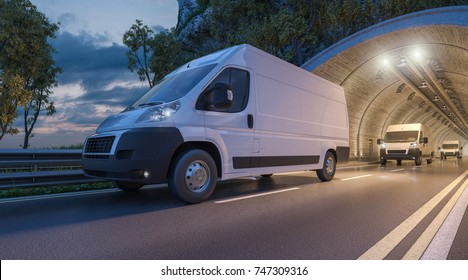 3d rendering of Several Delivery Vans Passing through a Tunnel