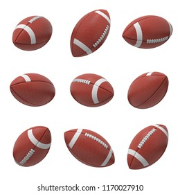 3d rendering of several oval American football ball hanging on a white background and shown from different sides. Sport and recreation. Ball games. Athletic career.