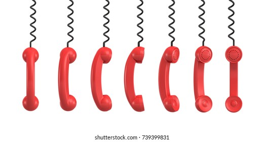 3d rendering of several red retro phone receivers hanging from their black cords on a white background. Communication equipment. Emergency phone. Receptionists and secretaries equipment.