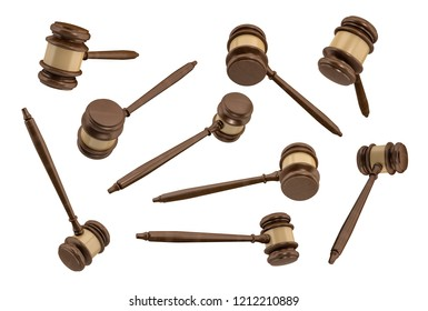 3d rendering of several traditional wooden judge gavels with golden middle hanging in different angles of view. Legal prosecution. Court room symbol. Judgment and verdict.
