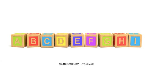 3d rendering of several wooden toy bricks with English letters in alphabetic order on a white background. Learn English. Building blocks. Read and write.