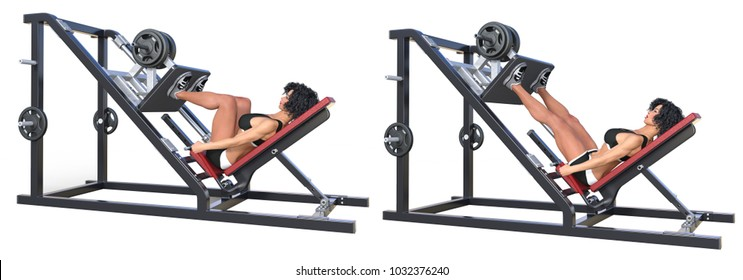 3d rendering sexy fitness woman exercising quadriceps with press machine isolated on white.