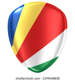 3d rendering of a Seychelles flag icon on white background.