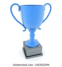3D Rendering of a shiny blue trophy. 3D Rendering isolated on white.