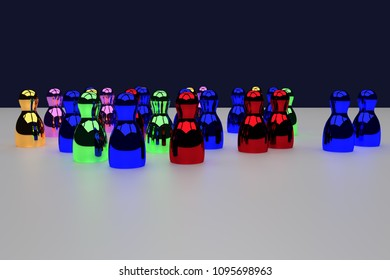 3D rendering of shiny figures standing on a white, glossy surface