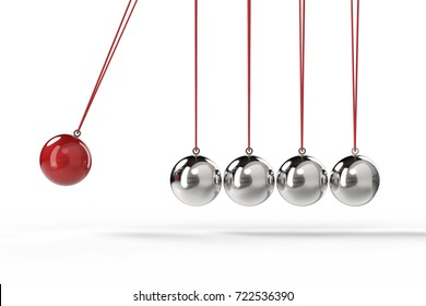 3d rendering shiny newton cradle on white background