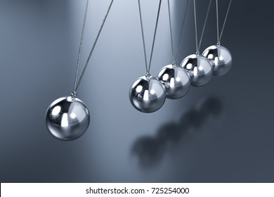 3d rendering shiny newton cradle on black background