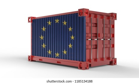 3d rendering of a shipping cargo container with European Union Flag