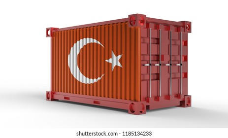 3d rendering of a shipping cargo container with Turkish flag.